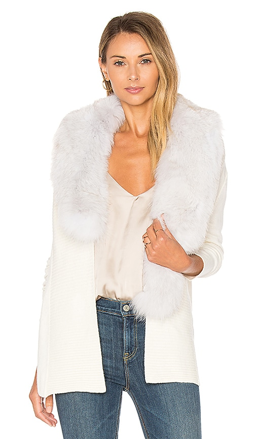 Central Park West Biarritz Fox Fur Cardigan in White