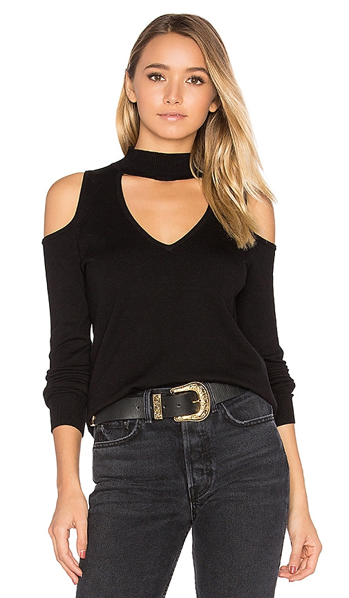 Central Park West Baton Rouge Cold Shoulder Turtleneck Sweater in Black