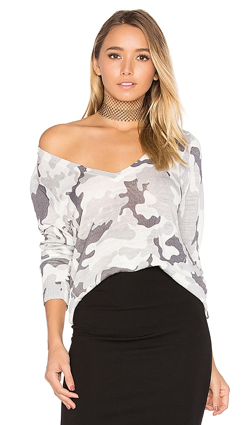 Central Park West Kiawah V Neck Sweater in White