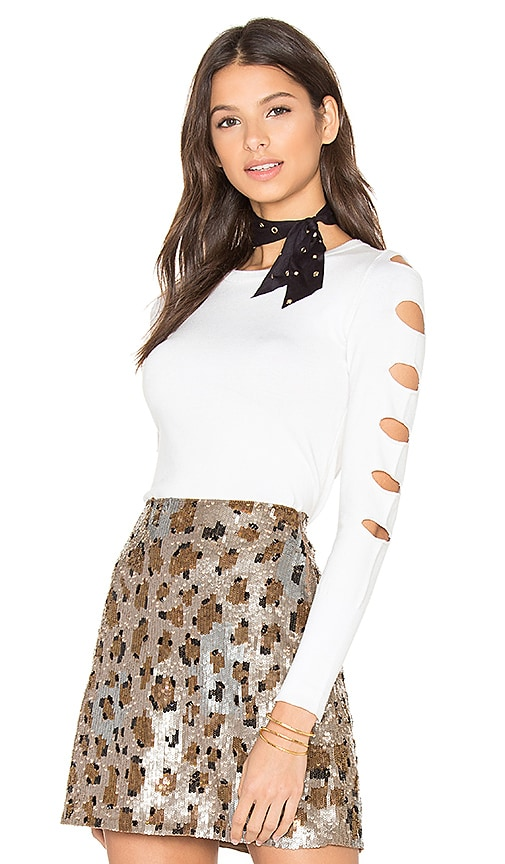 Central Park West Palm Springs Cut Out Sweater in White