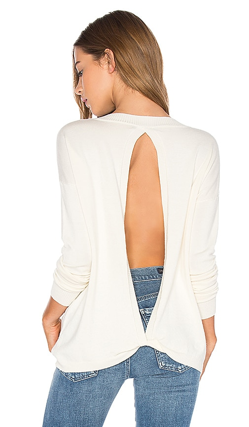 Central Park West Baton Rouge Keyhole Back Sweater in Ivory