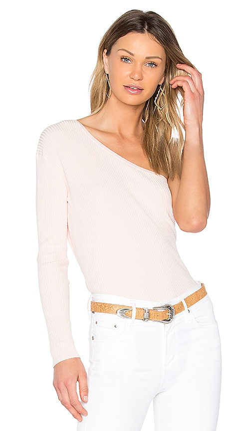 Central Park West Bel Air One Shoulder Sweater in Blush