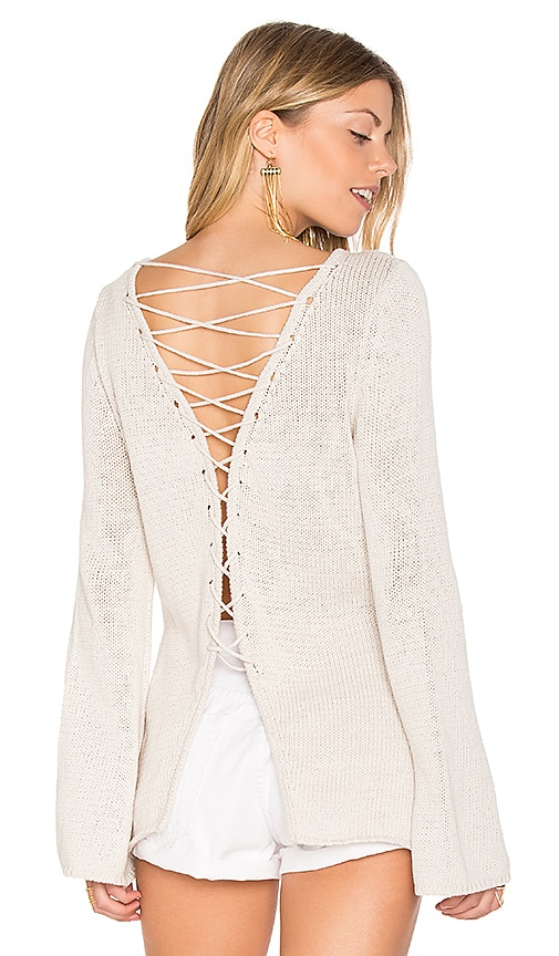 Central Park West Galveston Cross Back Sweater in Beige