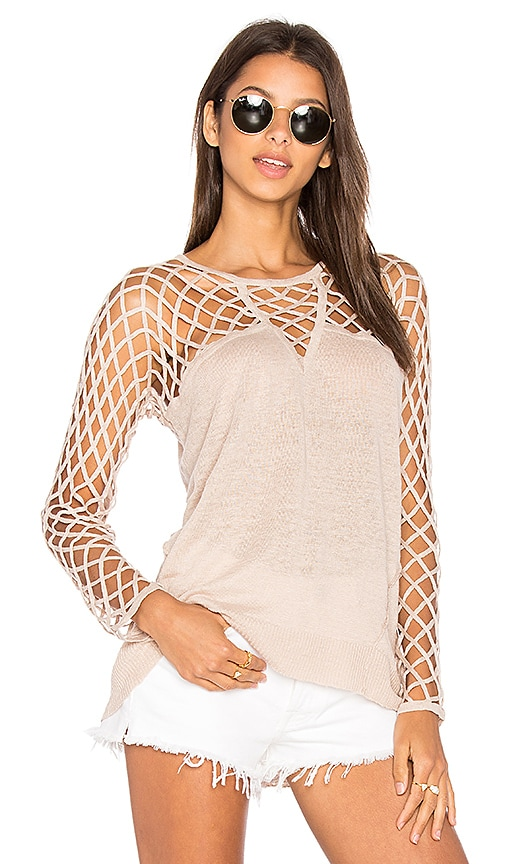 Central Park West Aurora Open Knit Sweater in Tan
