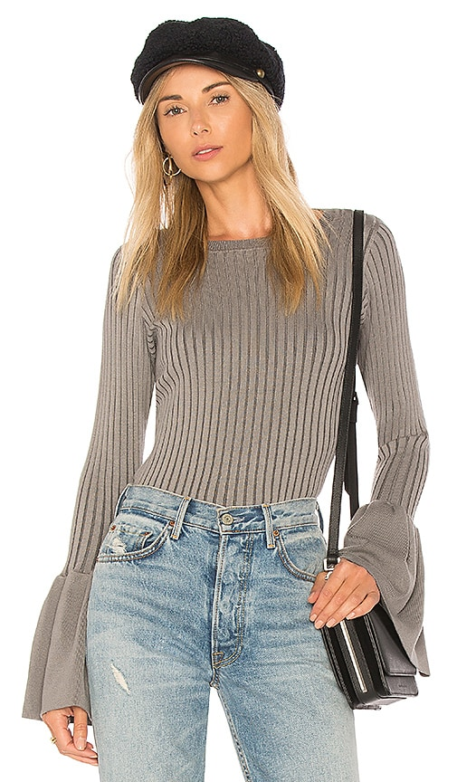 Central Park West Coconut Grove Bell Sleeve Sweater in Gray