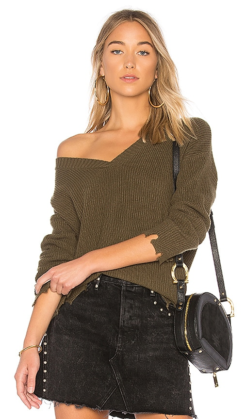 Central Park West Haight V-Neck Sweater in Olive