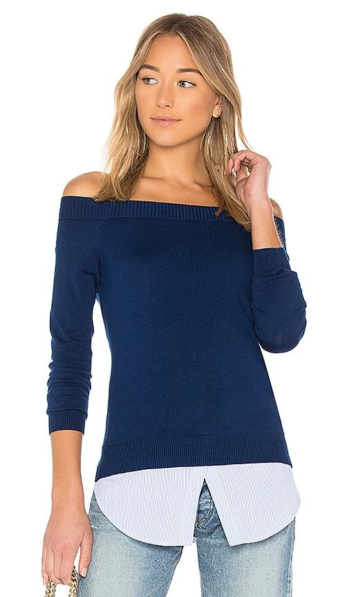 Central Park West Bleeker Off Shoulder Sweater in Blue