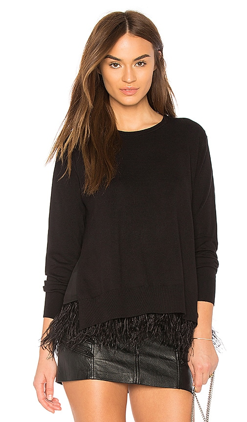 Central Park West Marabou Sweater in Black