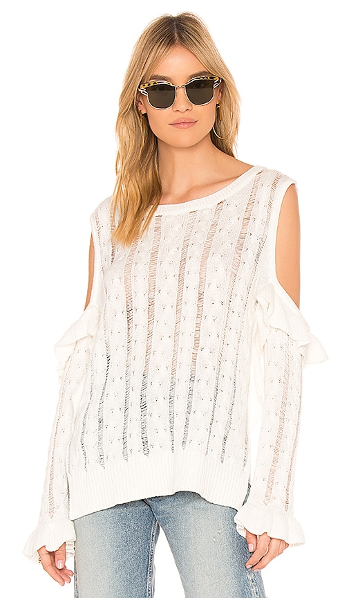 Central Park West Desert Sunflower Cable Knit Cold Shoulder Sweater in White