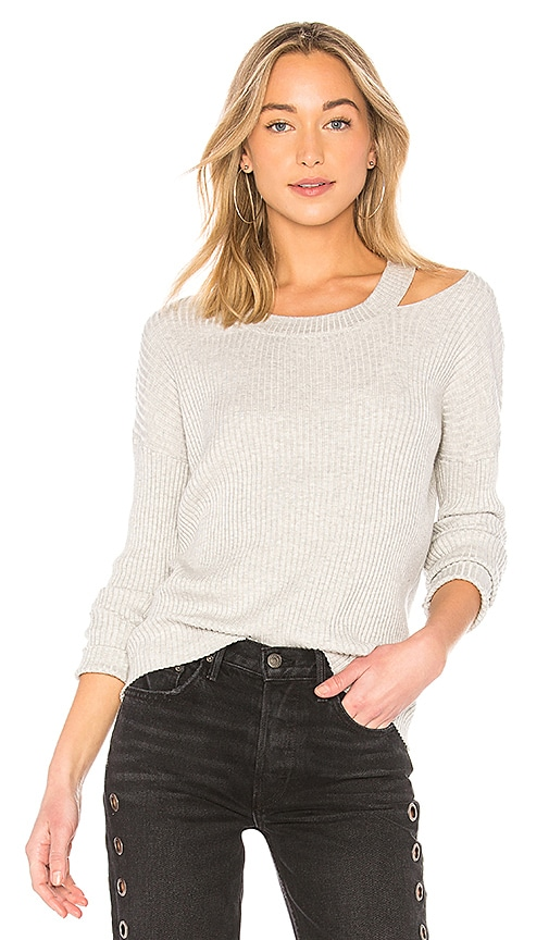 Central Park West Zion Ribbed Sweater in Gray