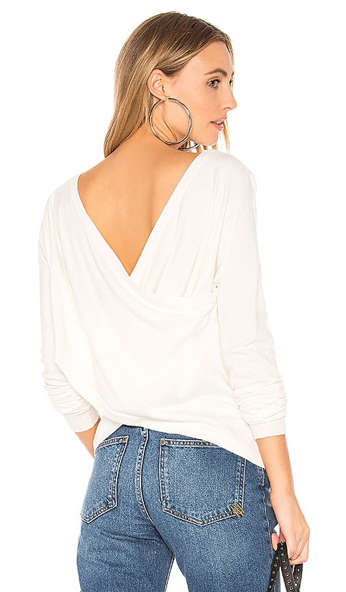 Central Park West Zion Crossed Back Sweater in Ivory