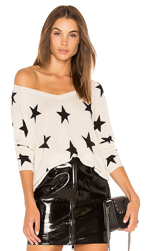 Central Park West Red Rock Linen Star Sweater in Ivory