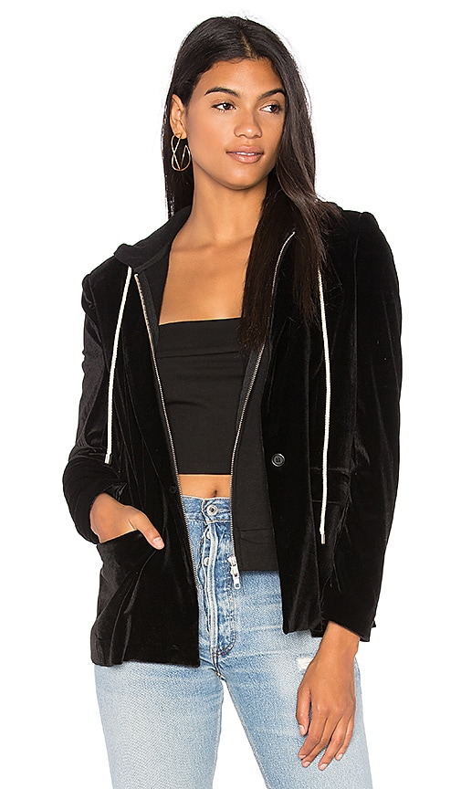 Central Park West Ocean Drive Velvet Blazer & Hoodie in Black