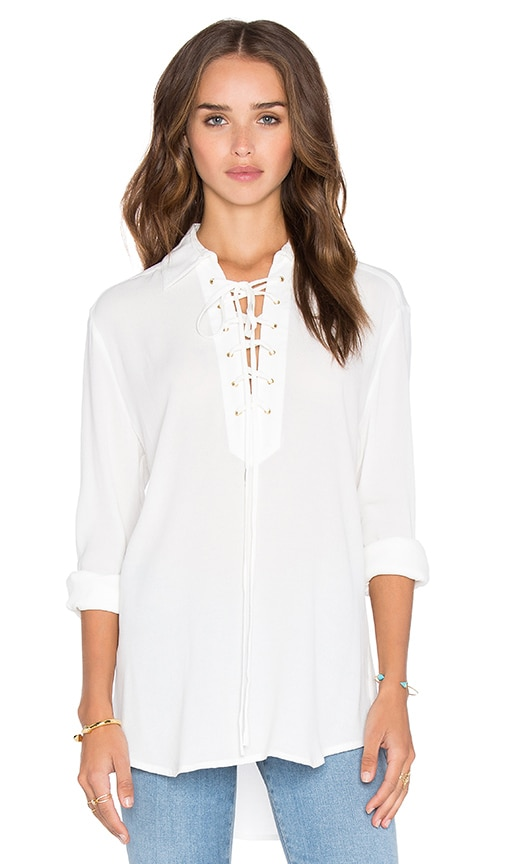 Central Park West Turin Lace Up Top in Ivory