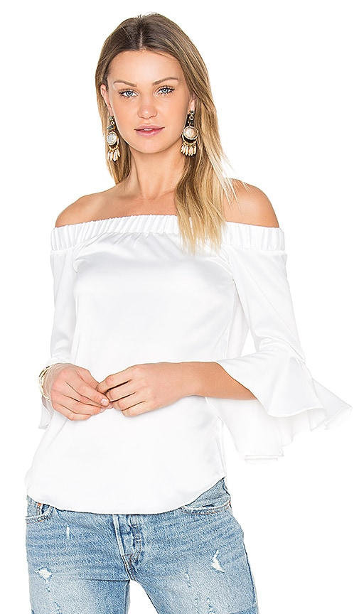 Central Park West Verdi Square Off Shoulder Top in White