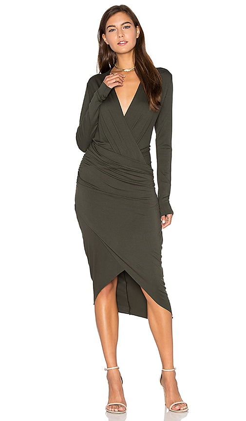 CHARLI Cassie Dress in Dark Green