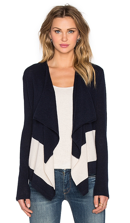 CHARLI Christy Cashmere Cardigan in Navy & Beige Stripe