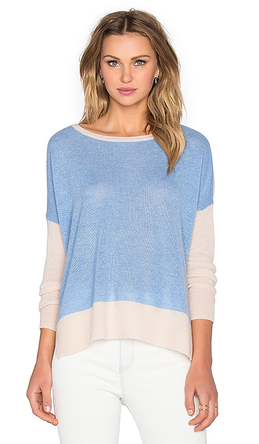 CHARLI Two Tone Cashmere Sweater in Sky Blue & Beige Stripe