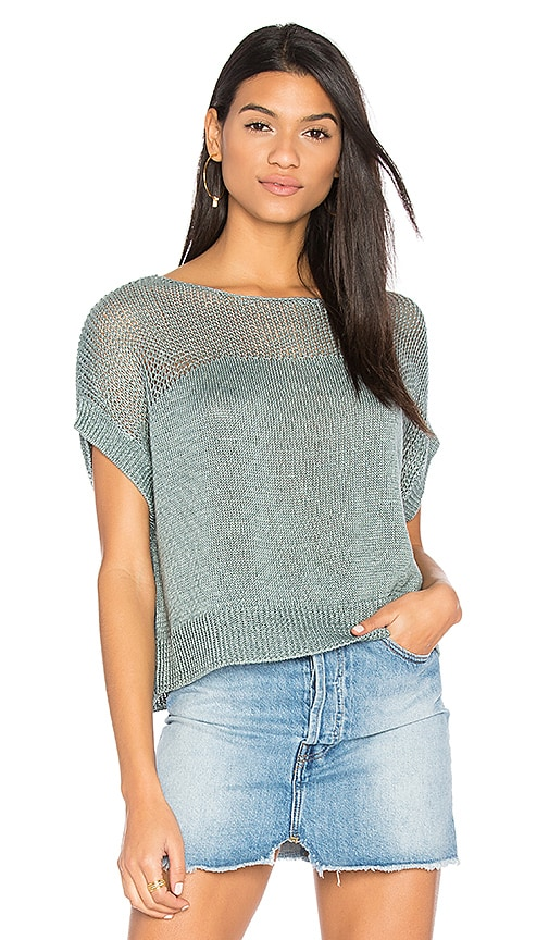 CHARLI Lunetta Short Sleeve Sweater in Green