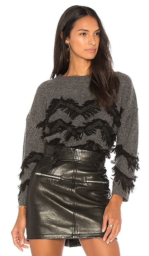 CHARLI Mea Frilled Sweater in Gray