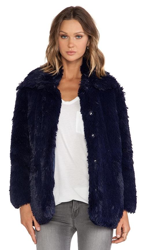 Cheap Monday Furious Faux Fur Jacket in Bleak Blue | REVOLVE