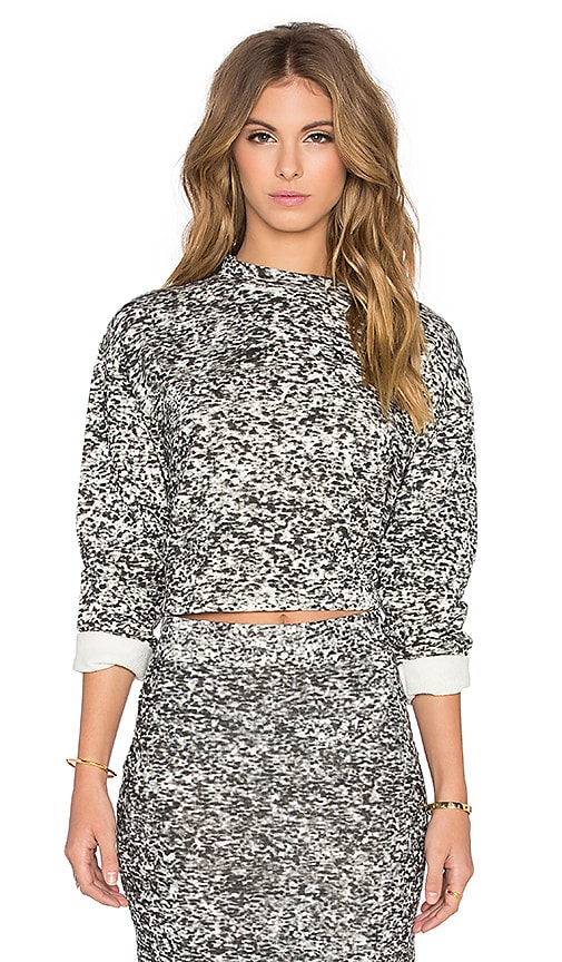 Cheap Monday TV Fuzz Crop Sweatshirt in Dirty White