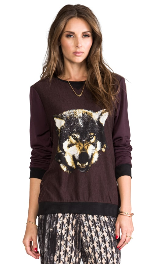 Burgundy Pull Over w/ Wolf Front