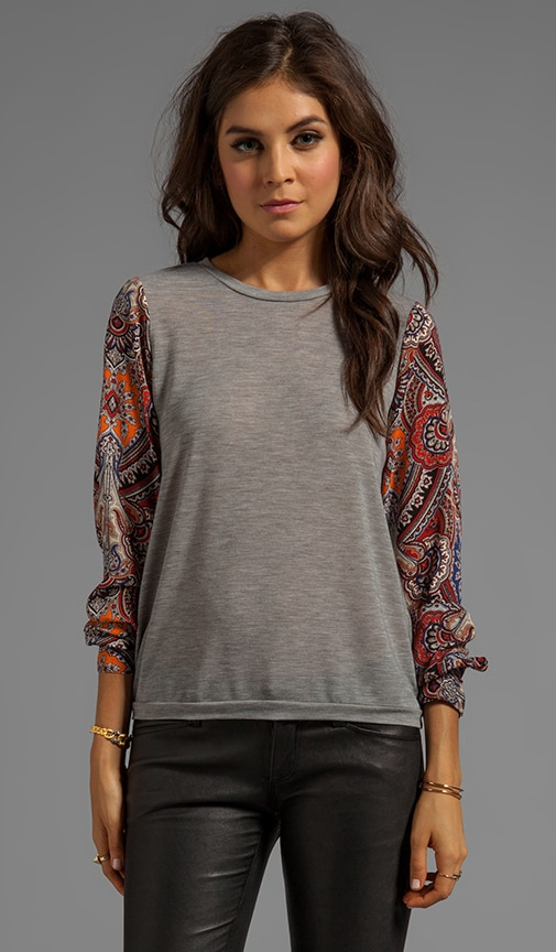 Knit Pullover with Chiffon Sleeves