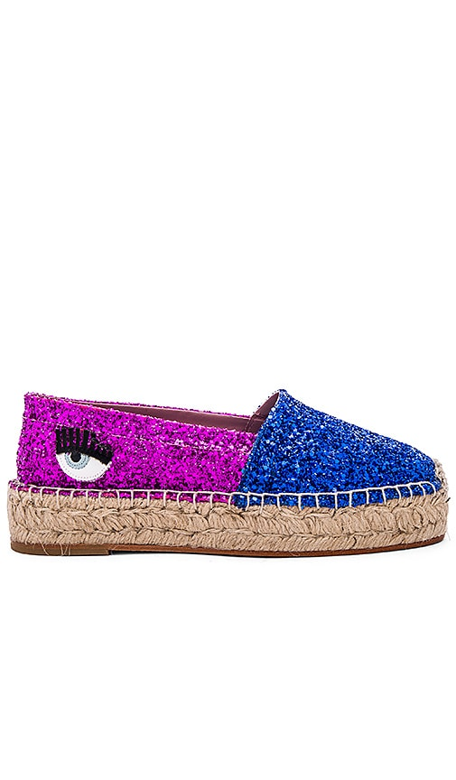 Chiara Ferragni Two Tone Espadrille in Blue