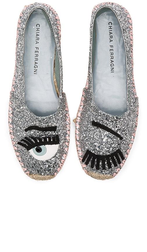 Chiara Ferragni Contrast Stitching Espadrille in Silver & Pink