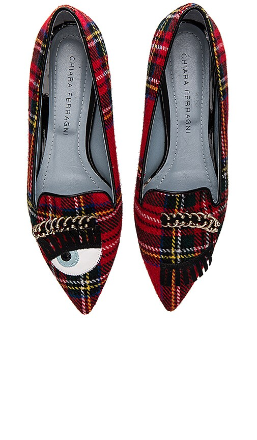 Chiara Ferragni Piercing Flirting Pointed Toe Flat in Red