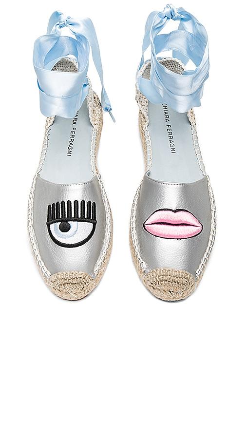 Chiara Ferragni Ankle Tie Espadrille in Metallic Silver