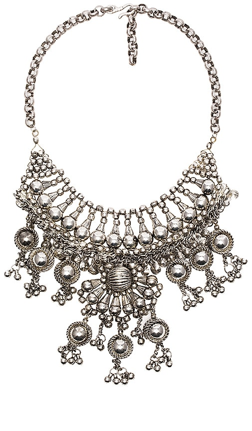 Child of Wild Moon Dweller Indian Necklace in Metallic Silver