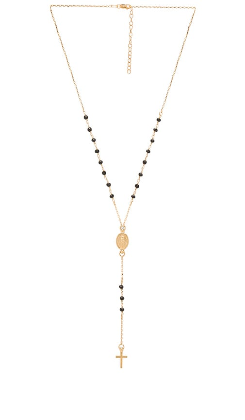 Child of Wild Redemption Rosary Necklace in Metallic Gold