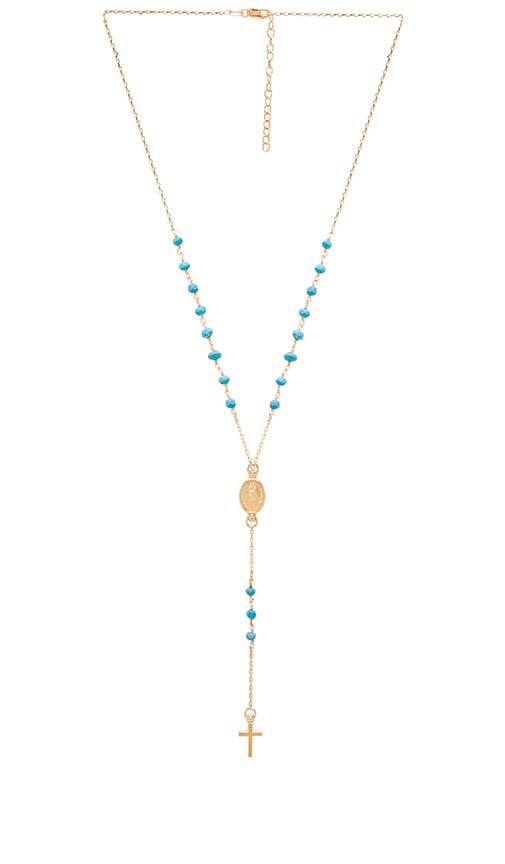 Child of Wild Redemption Rosary Necklace in Gold & Turquoise