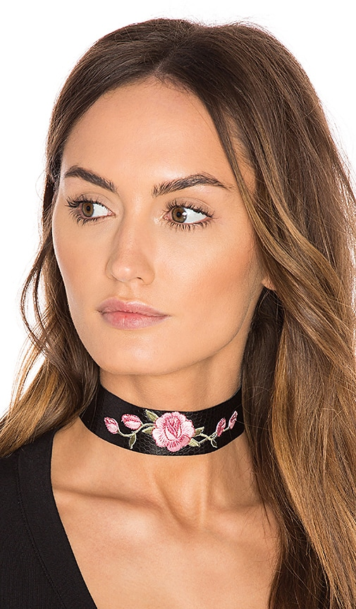 Child of Wild Wild Rose Leather Choker in Black