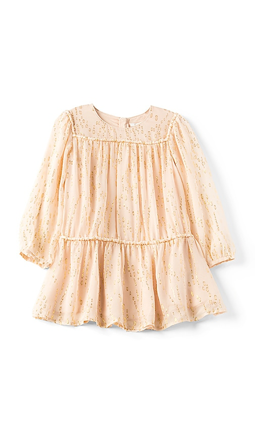Chloe Kids Couture Silk Gold Splatter Dress in Blush
