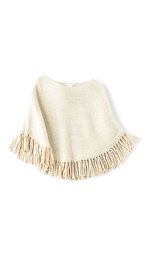 Chloe Kids Chunky Knit Poncho in Beige