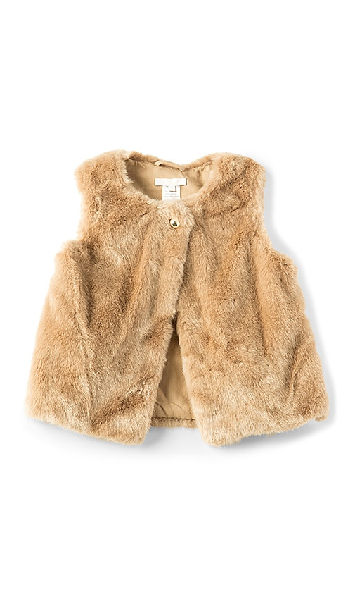 Chloe Kids Faux Fur Vest in Beige