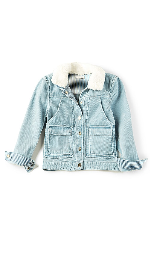 Chloe Kids Stonewashed Faux Fur Collar Jacket in Baby Blue