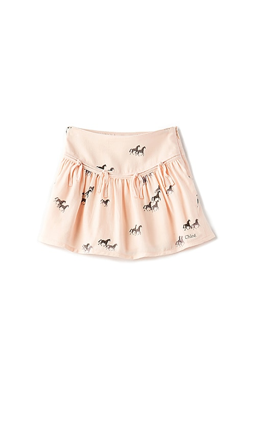 Chloe Kids Horse Print Fringe Skirt in Peach