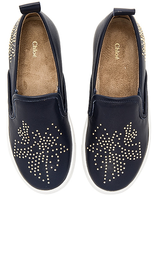 Chloe Kids Leather Stud Sneaker in Navy