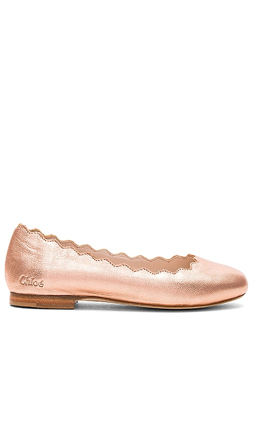 Chloe Kids Iconic Ballerina Flats in Metallic Copper