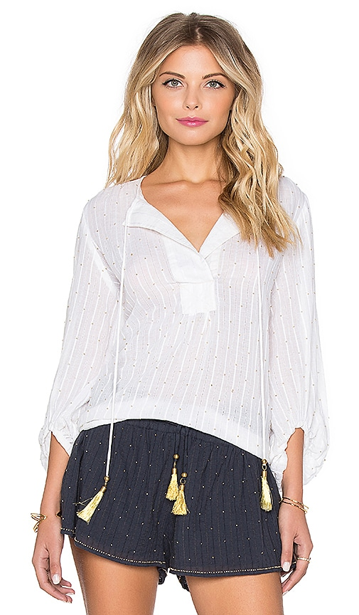 Chloe Oliver The Overboard Top in Ivory & Gold