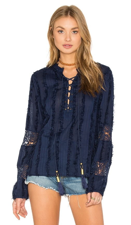 Chloe Oliver Field In Bloom Boho Top in Navy