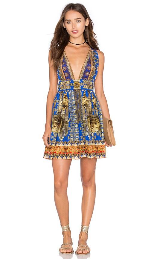 Camilla V Neck Tie Short Dress in La Chaquetilla