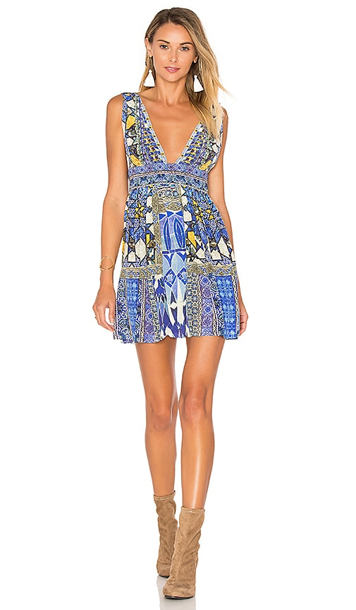 Camilla V Neck Tie Short Dress in Blue