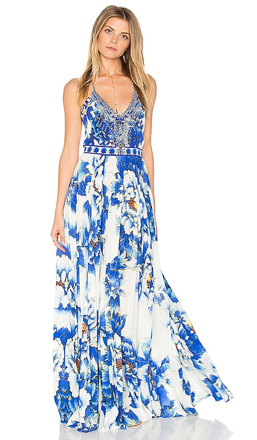 Camilla Pleated Slip Dress in Blue