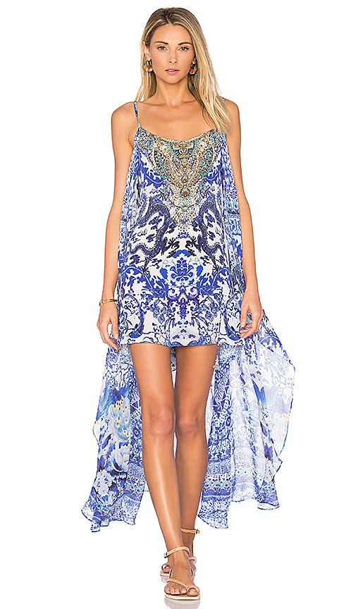 Camilla Mini Dress with Overlay in Blue
