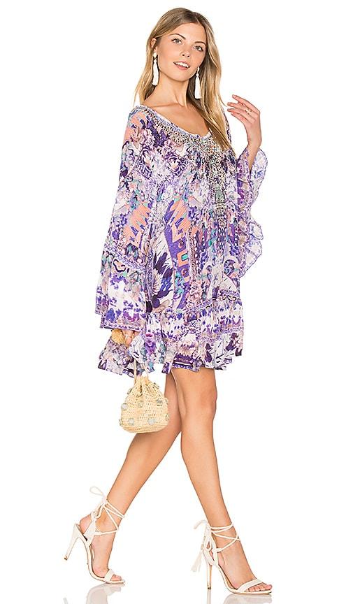 Camilla A Line Frill Dress in Purple